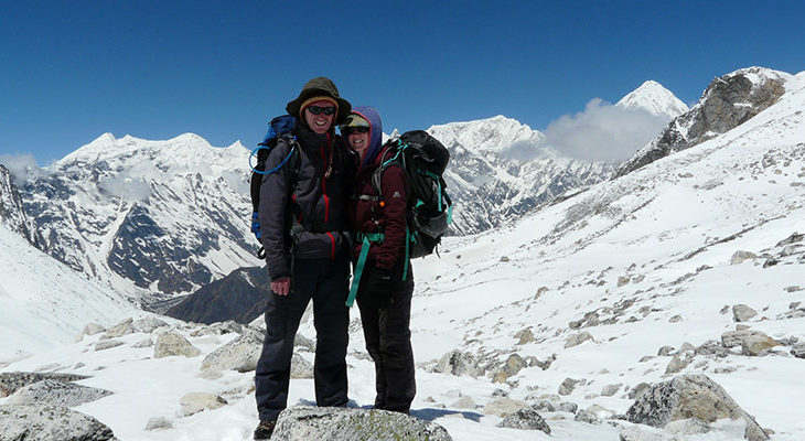 Couple on the way down from Larkye Pass 5160m