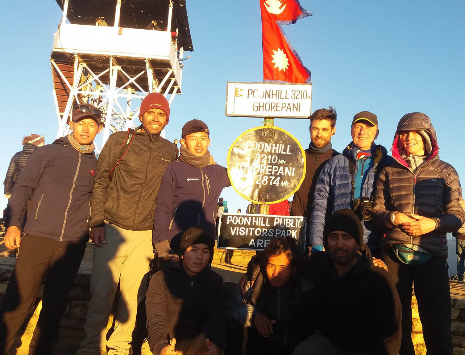 Annapurna Circuit Trekking group standing in Poon Hill 3210M.