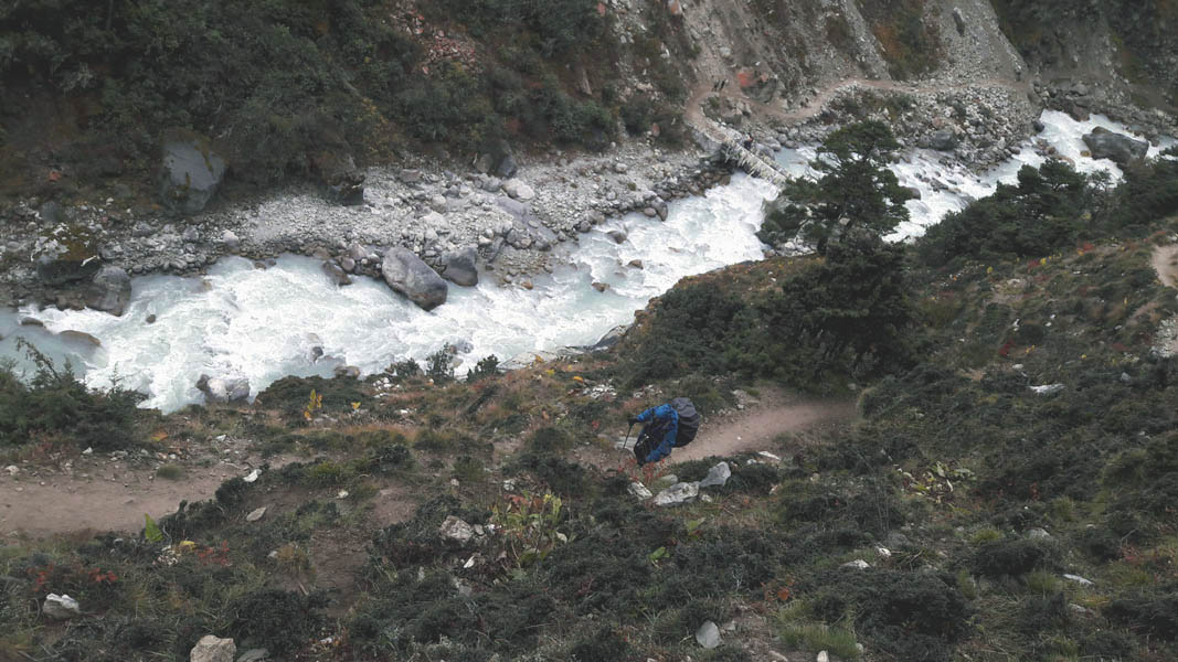 Frozen River near the Thukla on the way to Everest Base Camp