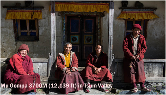 Monks are in Mu Gompa Tsum Valley