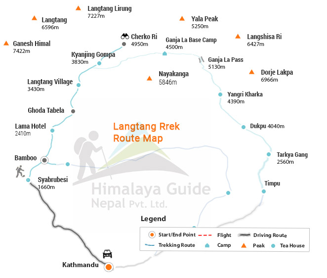 Details Map of Langtang valley trek with day to day camp