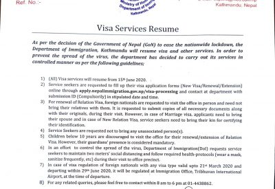 Nepal Government Resume Visa Services from June 15, 2020